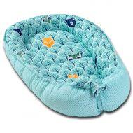 Cosulet bebelus pentru dormit Kidizi Baby Nest Cocoon 90x50 cm Animals Mint