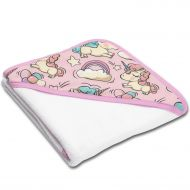Prosop bebe din bumbac cu gluga 90x90 cm Kidizi Pink Unicorn