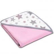 Prosop bebe din bumbac cu gluga 90x90 cm Kidizi All Pink Stars, roz