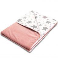 Paturica moale cu doua fete 100x78 cm Kidizi Velvet All Pink Stars