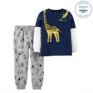 Set 2 piese bluza cu maneci stratificate si pantaloni girafa Carters