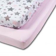 Set 2 cearceafuri din bumbac cu elastic  roata pentru patut 120x60 cm Kidizi Pink Stars