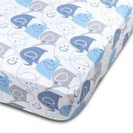 Cearceaf din bumbac cu elastic roata pentru patut 120x60 cm Kidizi Blue Elephants