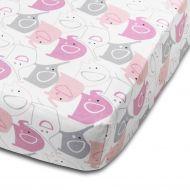 Cearceaf din bumbac cu elastic roata pentru patut 120x60 cm Kidizi Pink Elephants