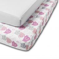 Set 2 cearceafuri din bumbac cu elastic  roata pentru patut 120x60 cm Kidizi Pink Elephant