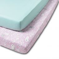 Set 2 cearceafuri din bumbac cu elastic  roata pentru patut 120x60 cm Kidizi Sweet Bunny Mint