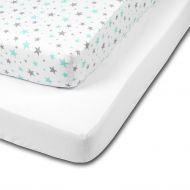 Set 2 cearceafuri din bumbac cu elastic  roata pentru patut 120x60 cm Kidizi Galaxy Mint White