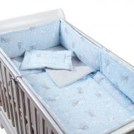 Set lenjerie 5 piese din bumbac Kidizi Blue Bunny, perna bebelus, plapumioara, aparatoare si cearceaf