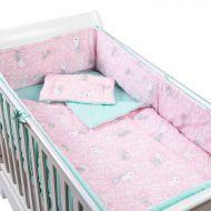 Set lenjerie 5 piese din bumbac Kidizi Sweet Bunny Mint, perna bebelus, plapumioara, aparatoare si cearceaf