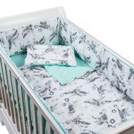 Set lenjerie 5 piese din bumbac Kidizi Mint Orchid, perna bebelus, plapumioara, aparatoare si cearceaf