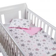 Set perna bebelus si plapumioara 100x75 cm din bumbac Kidizi Pink Stars