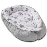 Cosulet bebelus pentru dormit Kidizi Baby Nest Cocoon 90x50 cm Grey Pink All Stars
