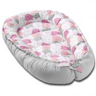 Cosulet bebelus pentru dormit Kidizi Baby Nest Cocoon 90x50 cm Pink Elephants