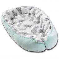 Cosulet bebe Kidizi Baby Nest Cocoon velvet 90x50 cm Mint Feathers, husa interior 100% bumbac