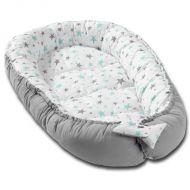 Cosulet bebelus pentru dormit Kidizi Baby Nest Cocoon XXL 110x70 cm  Grey Mint Stars