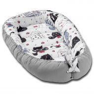 Cosulet bebelus pentru dormit Kidizi Baby Nest Cocoon 90x50 cm Happy Kitten