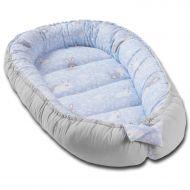 Cosulet bebelus pentru dormit Kidizi Baby Nest Cocoon 90x50 cm Blue Bunny