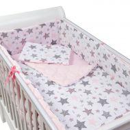 Set lenjerie matlasata 5 piese Kidizi All Pink Stars, include perna, plapumioara, aparatoare si cearceaf