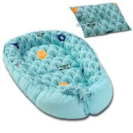 Cosulet bebelus pentru dormit Kidizi Baby Nest + pernuta plagiocefalie Kidizi Animals Mint