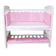 Set aparatori si cearsaf pentru pat cosleeper Dreamy Mini Sweet Stars Roz