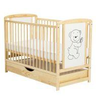 Baby Needs - Patut din lemn Timmi cu sertar natur
