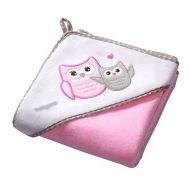 Prosop bebe cu gluga 76X76 cm Baby Ono Owl roz, 100% bumbac