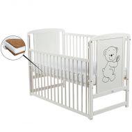 BabyNeeds - Patut din lemn Timmi 120x60 cm cu laterala culisanta, Alb+ Saltea 12 cm
