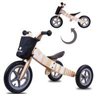 Bicicleta din lemn fara pedale 2 in 1 transformabila Sun Baby Twist Samoa White
