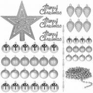 Set complet decorare brad Craciun, 51 piese, include globuri si stea, argintiu