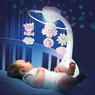 Carusel muzical cu proiector si lampa de veghe Infantino Roz