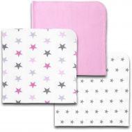 Set 3 paturici din flanel 78x78 cm Kidizi Pink Stars, 100% bumbac