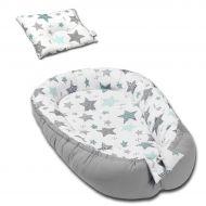 Cosulet bebelus pentru dormit Kidizi Baby Nest + pernuta plagiocefalie Kidizi All Mint Stars