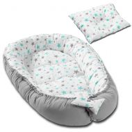 Cosulet bebelus pentru dormit Kidizi Baby Nest + pernuta plagiocefalie Kidizi Grey Mint Stars
