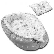 Cosulet bebelus pentru dormit Kidizi Baby Nest + pernuta plagiocefalie Kidizi Galaxy Grey