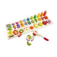 Joc educativ sortator din lemn cu numere si fructe de taiat magnetice