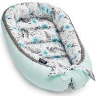 Cosulet bebelus pentru dormit Jukki Baby Nest Cocoon XL 90x50 cm In garden mint