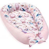 Cosulet bebelus pentru dormit Jukki Baby Nest Cocoon XL 90x50 cm Swallows