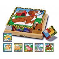 Melissa&Doug - Puzzle lemn din cuburi Animalele de casa