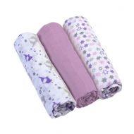Set 3 scutece textile din muselina 70x70 cm Baby Ono violet, 100% bumbac