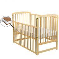 BabyNeeds - Patut din lemn Ola cu laterala culisanta natur + Saltea 10 cm