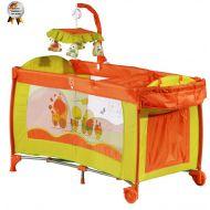 BabyGo - Patut pliant cu 2 nivele si mini-carusel Sleeper Deluxe