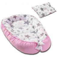 Cosulet bebelus pentru dormit Kidizi Baby Nest + pernuta plagiocefalie Kidizi Pink Stars
